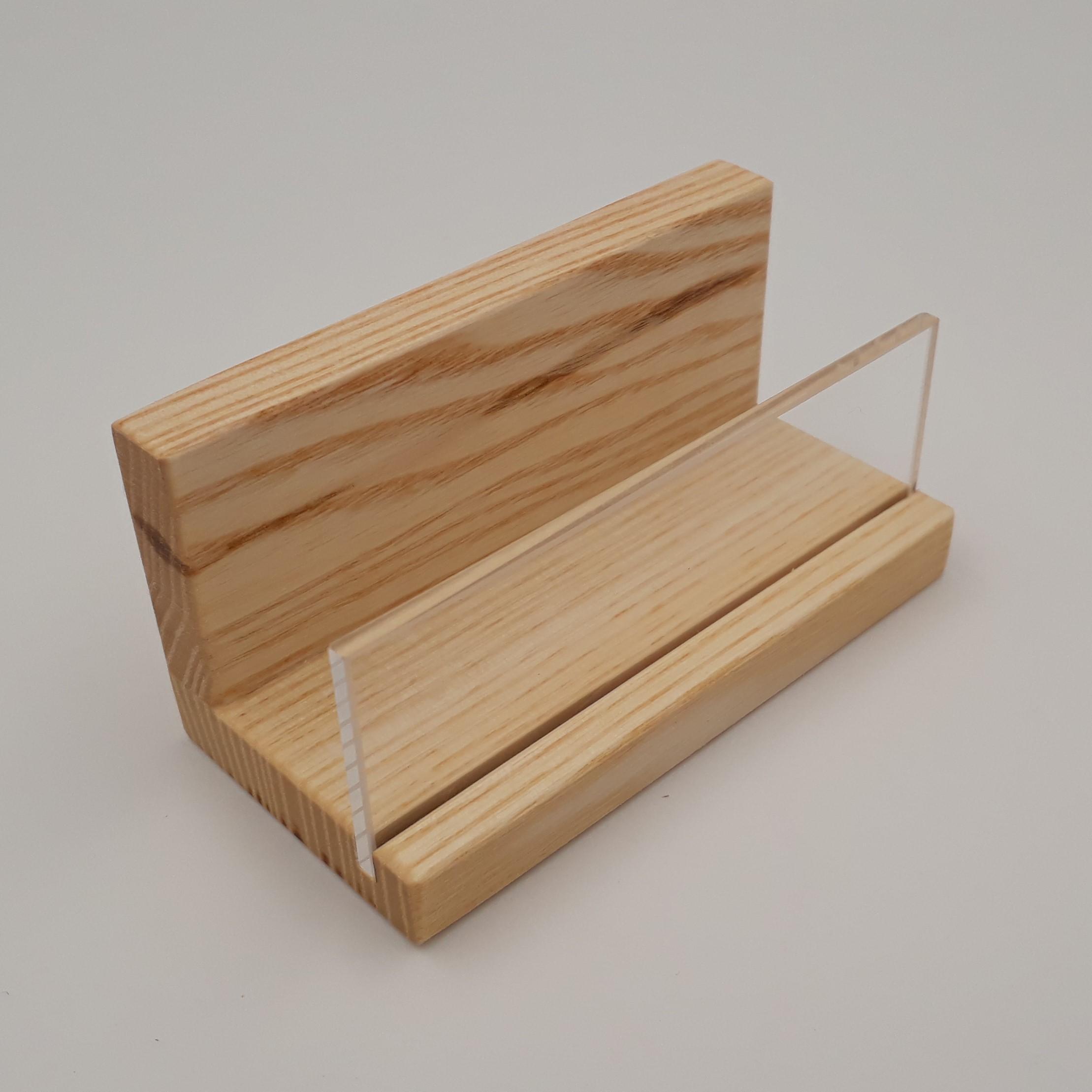 Visitenkartenhalter Eschenholz Mit Acrylglasscheibe 9 Cm
